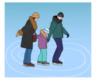 Happy family skating on the rink. Stock Photography