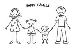 Happy family sketch. Kids style outline drawing of happy family with two kids royalty free illustration