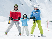 Happy family on ski Royalty Free Stock Photos