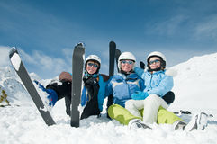 Happy family on ski Stock Image