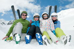Happy family on ski Stock Photos