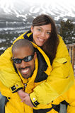 Happy Family at Ski Resort Stock Photography
