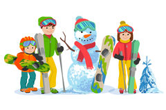 Happy family ski and snowbording with snowman. Vector illustration winter sport concept. People skiers equipment in clothes Royalty Free Stock Image