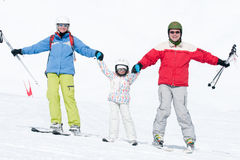 Happy family ski team Royalty Free Stock Photos