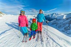 Happy family ski team Royalty Free Stock Photos