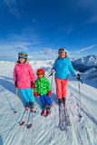 Happy family ski team Royalty Free Stock Photography