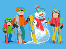Happy family skiers with snowman. Vector illustration winter sport concept. Royalty Free Stock Images