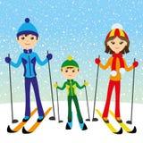Happy family skiing. Vector winter illustration of happy family skiing Stock Photo