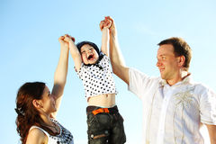 Happy family in sky Royalty Free Stock Photo