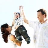 Happy family in sky Stock Image