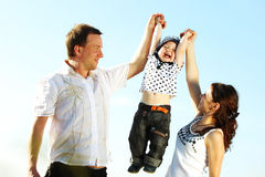 Happy family in sky Stock Image