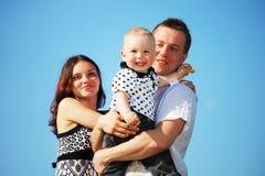 Happy family in sky Royalty Free Stock Photo