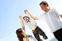 Happy family in sky Stock Photo