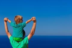 Happy family on sky Stock Photos