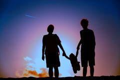 Happy family with small child play at sunset. Family care Royalty Free Stock Image