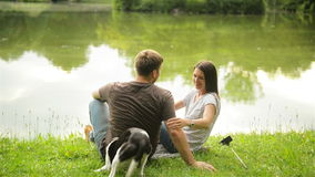 Happy family with small dog spending time together in the city park sitting near the lake. stock footage