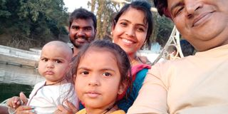 Happy family with smile of india