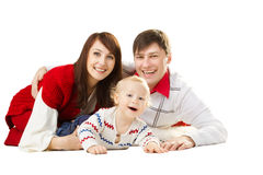 Happy family, smiling father mother and laughing baby Royalty Free Stock Photo