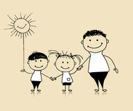 Happy family smiling together, father and children Royalty Free Stock Photos