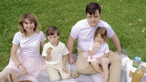 Happy family smiling and waving at picnic.  stock footage