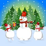 Happy family of snowmen near the forest on Christmas Eve. Illustration in flat style. royalty free illustration