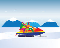 Happy family on a snowmobile in the mountains. Winter, Christmas Stock Photography