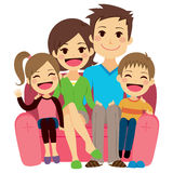 Happy Family Sofa. Illustration of cute happy family of four people sitting on sofa Royalty Free Stock Photos