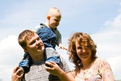 Happy family with son stock images