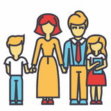 Happy family - son, mother, father, daughter concept. vector illustration