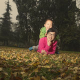 Happy family at autumn Stock Photography