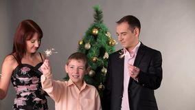 Happy Family With Sparkles On Christmas stock video footage