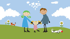 Happy family spending time outdoors. Stock Images