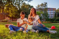 Happy family spending time outdoors sittting on grass in park. Mom with two children smiling. Family values. Happy family spending time outdoors sittting on royalty free stock photo