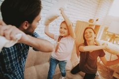 Happy Family Spending Time Together at Apartment. royalty free stock images
