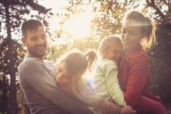 Happy family spending time together. stock image