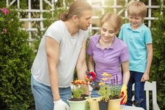 Young mother gardening in front or back yard with her two cute little children. Happy family spending weekend engaging with their hobby - gardening. Planting and stock photos
