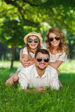 Happy family spends together the weekend. Royalty Free Stock Photo