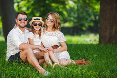Happy family spends together the weekend. Stock Photo