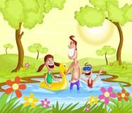 Happy family splashing in pool Royalty Free Stock Images