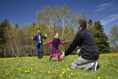 Happy family in spring Royalty Free Stock Photos
