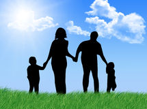 Happy family at spring. Happy family jumping and running in a sunny and spring day Stock Illustration