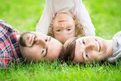 Happy family in spring Stock Photo