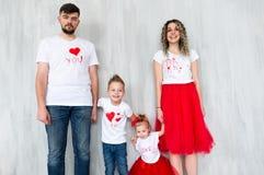 Happy family on St. Valentine`s Day. Family portrait royalty free stock photo