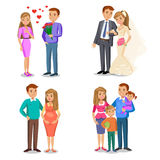 Happy family stages. Creating of happy family. Royalty Free Stock Image