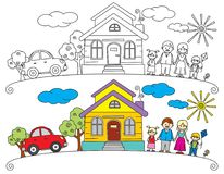 Happy family stand near their Home Vector Sketch Stock Photography
