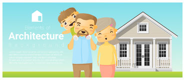 Happy family standing outside their house background Royalty Free Stock Photography