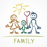 Happy family stick figure. S, hand drawn family holding hands together on white. Vector illustration Stock Photos