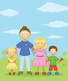 Happy family stick figure style illustration. Vector format fully editable Royalty Free Stock Photos