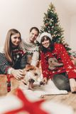 Happy family in stylish sweaters and cute dog at christmas tree. With lights and gifts. atmospheric festive moments. merry christmas and happy new year concept Royalty Free Stock Photo