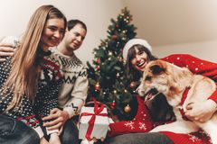 Happy family in stylish sweaters and cute dog having fun with gi. Fts at christmas tree with lights. atmospheric emotional moments. merry christmas and happy new Royalty Free Stock Photo